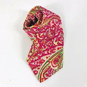 J Crew Pink Green Paisley Cotton Tie